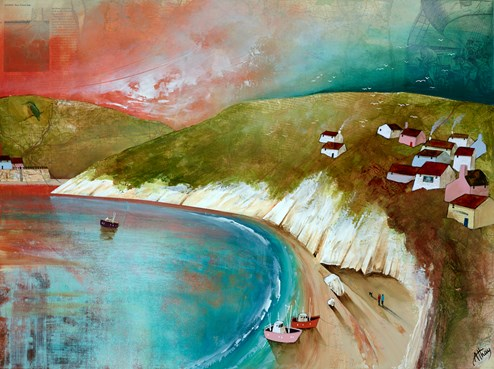 White Cliffs by Keith Athay - Varnished Original Painting on Box Canvas